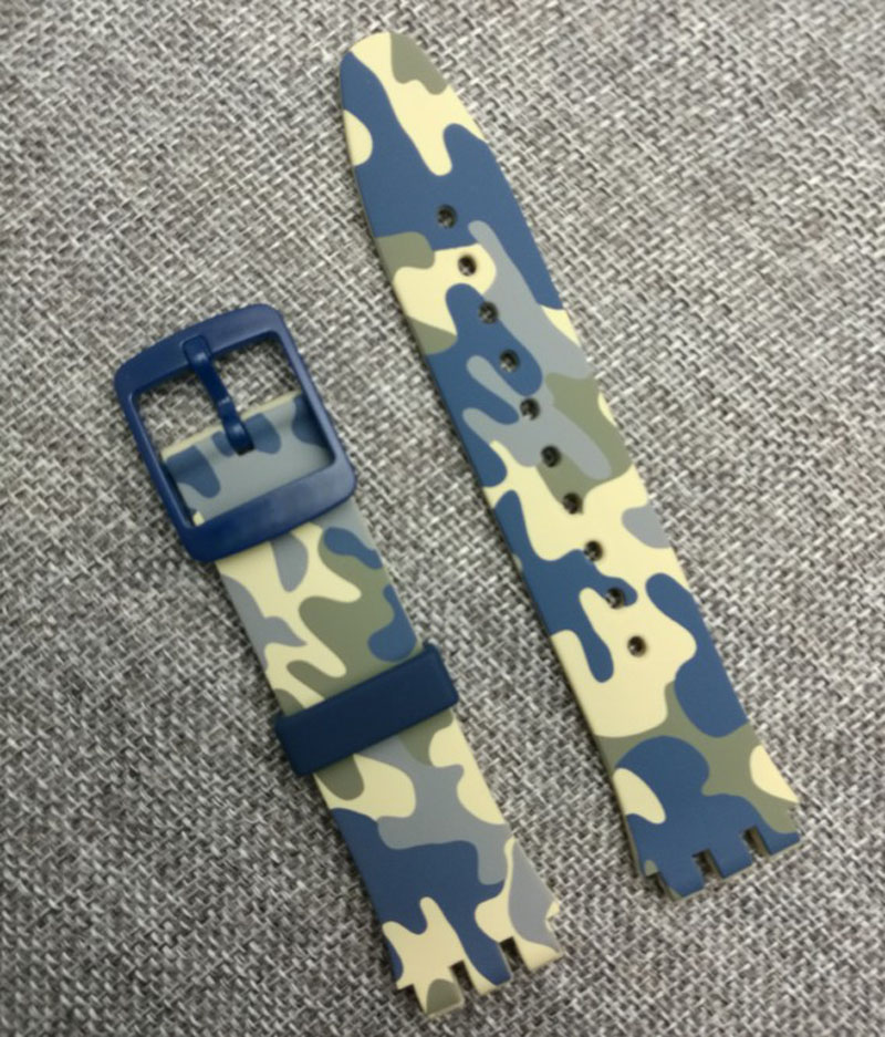 New watch accessories for Swatch device 51 planet SUTT400 camouflage silicone buckle strap цена и фото