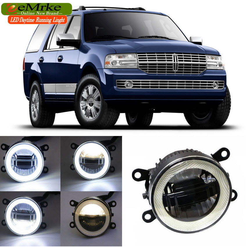 eeMrke For Lincoln Navigator 2007-2014 3 in 1 LED DRL Angel Eye Fog Lamp Car Styling High Power Daytime Running Lights Accessory car styling 2 in 1 led angel eyes drl daytime running lights cut line lens fog lamp for land rover freelander lr2 2007 2014