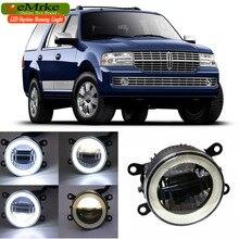 eeMrke For Lincoln Navigator 2007-2014 3 in 1 LED DRL Angel Eye Fog Lamp Car Styling High Power Daytime Running Lights Accessory