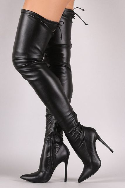 woman sexy thigh high boots pointed toe over the knee high heel ...