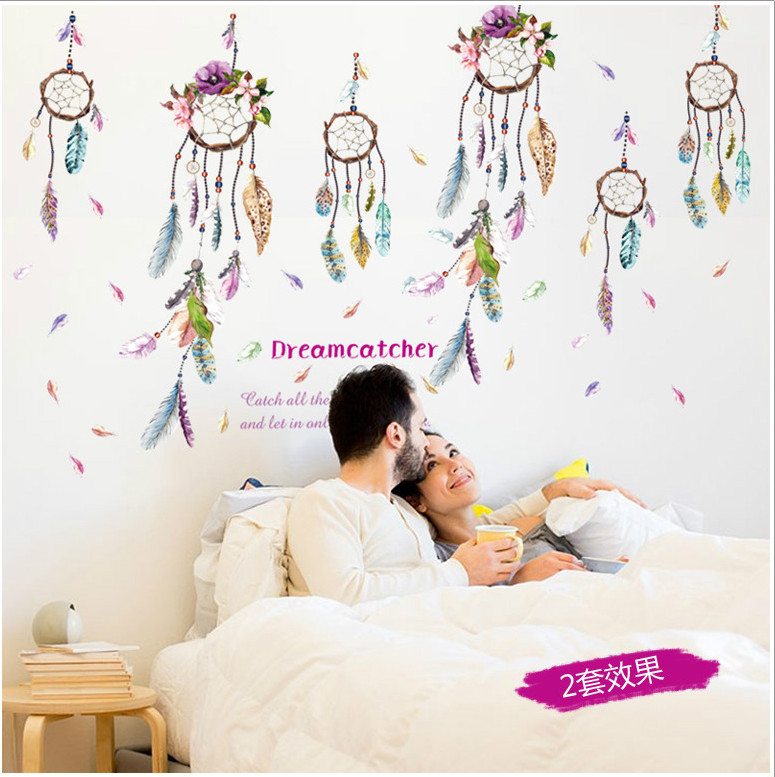 Dreamcatcher campanula quote feather home decal wall sticker family dreamcatcher campanula quote feather home decal wall sticker family bless living room girl room decor art wedding decoration in wall stickers from home junglespirit Gallery