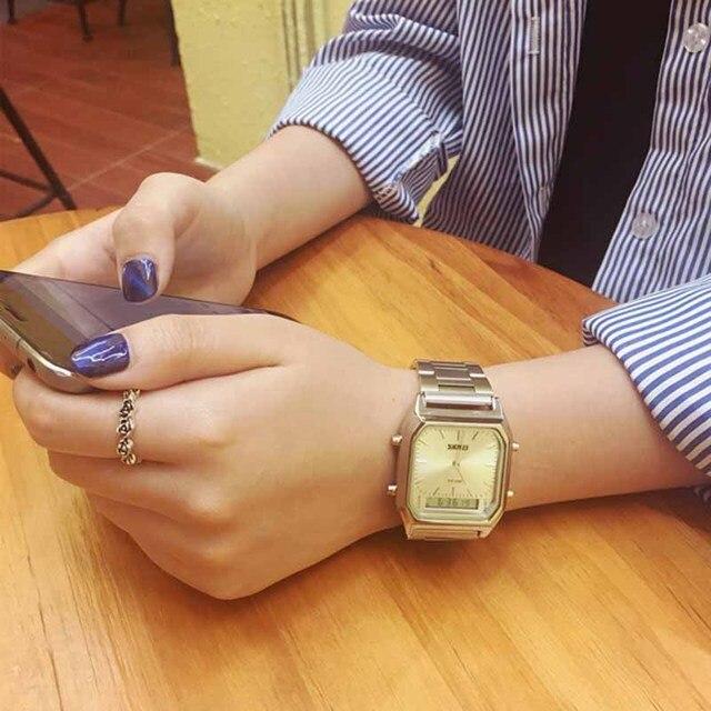 6564c2bed42 Relógios Moda Feminina Relógio de Ouro Champagne Quadrado Relógio Digital  Analógica Display Duplo De Quartzo-