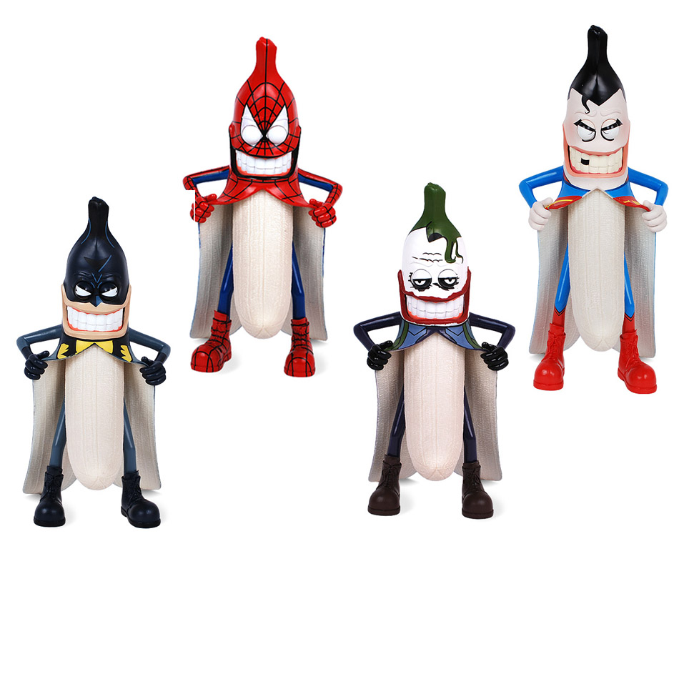 Bad banana 29cm 1pcs pvc figure batman joker superman spiderman marvel dc...
