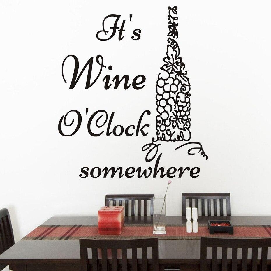 Itu0027S Wine Ou0027Clock Somewhere Grape Wine Bottle Wall Sticker Vinyl Art Murals Decals Self Adhesive Wallpaper Creative Home Decor -in Wall Stickers from Home ...  sc 1 st  AliExpress.com & Itu0027S Wine Ou0027Clock Somewhere Grape Wine Bottle Wall Sticker Vinyl Art ...