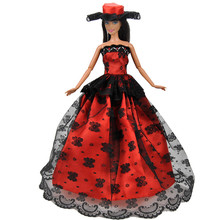 Fashion Retro Long Dress for Barbie Doll Clothes Accessories Lolita Style Wears Girl's Birthday Christmas Gift free shipping christmas gift birthday gift 2016 fashion doll with clothes and shoes accessories for barbie doll toys for girls