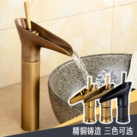 Deck Mounted Solid Brass Bathroom Sink Faucet Single Handle Vessel Sink Mixer Tap