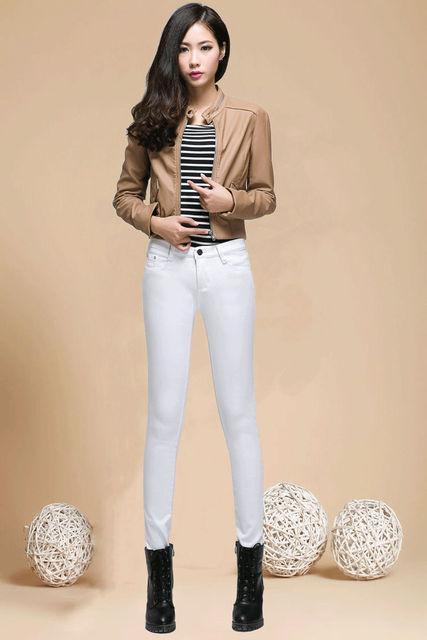 2016 Inverno Nova Calça Jeans Além De Veludo Calças Quentes Femininos Calças Pés Versão Coreana era Magro Calças Lápis Coloridos Doces AXD1545