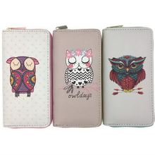KANDRA Owl Print Cartoon Women Wallets Long Large Capacity Card Holder PU Leather Zipper Travel Wallet Cash Purse Owl Lover Gift pu leather owl choker