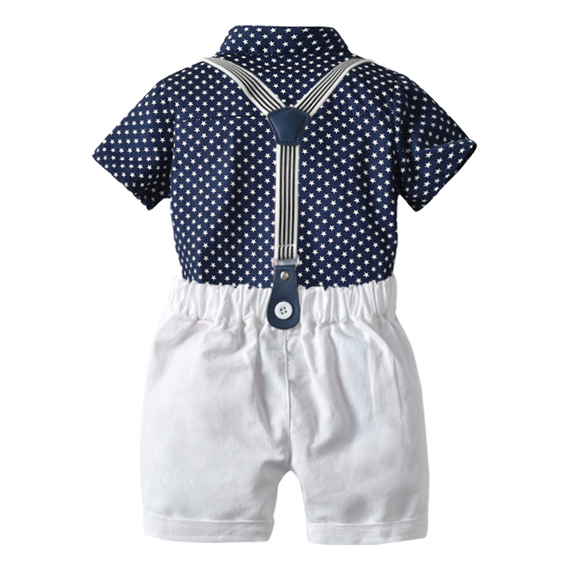 Toddler Boy Clothes Set Navy Stars Shirt Tops + White Shorts with Belt Fashion Clothing Set for Baby Boy Short Suit 2