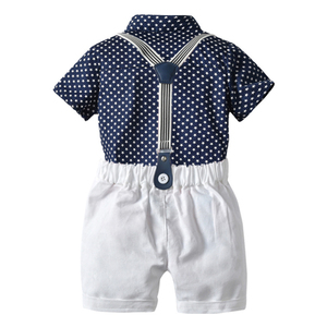 Image 2 - طفل صبي الملابس مجموعة البحرية نجوم قميص بلايز + السراويل البيضاء مع حزام مجموعة ملابس عصرية للطفل الصبي بدلة قصيرة