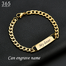Fashion Customized Words Bar Chain Bracelet For Men Stainless Steel Adjustable Engraving Name Bangle Party Jewelry