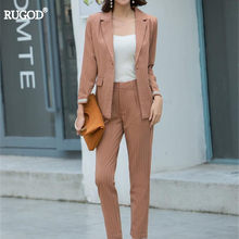 Rugod 2018 New Autumn Elegant Business Suits Women Striped Blazer and Long Pants Suits Feminino OL Slim Runway Trousers Suits(China)