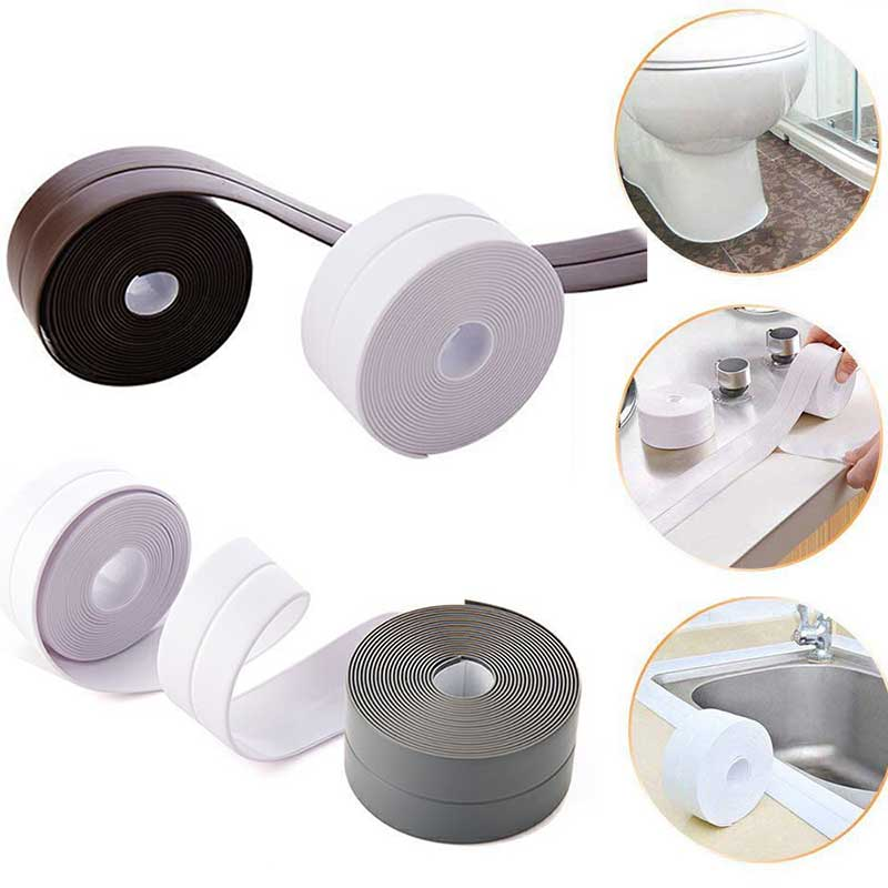 Bath Sealant Strip Tape Kitchen Bathroom Bathtub Floor Corner Wall PVC Self Adhesive Waterproof Sink Basin Edge Sealing Tape