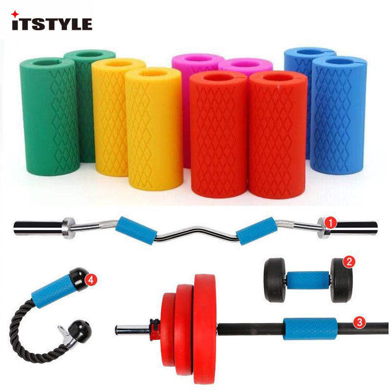 Weight Lifting Reliable 1pair Barbell Dumbbell Grips Silicone Anti-slip Protect Pad Intensify Pull Up Forearm Weightlifting Fat Grip Support Arm Builder Fitness & Body Building