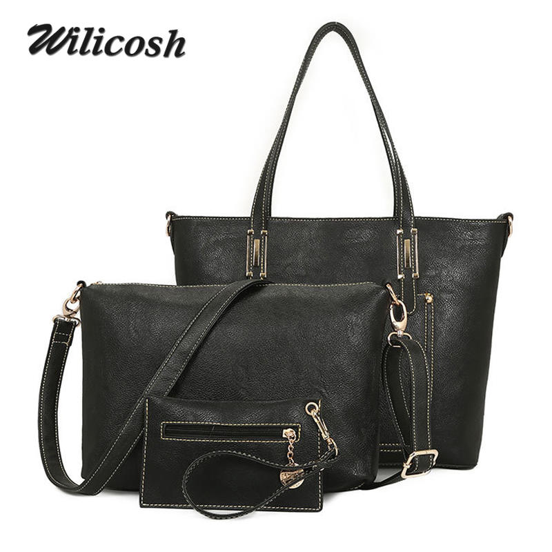 ФОТО 3 Pieces Sets Handbags Nubuck Leather Women Shoulder Bags Ladies Female Brand Casual Handbag+Messenger Bag+Clutch Purse WL131