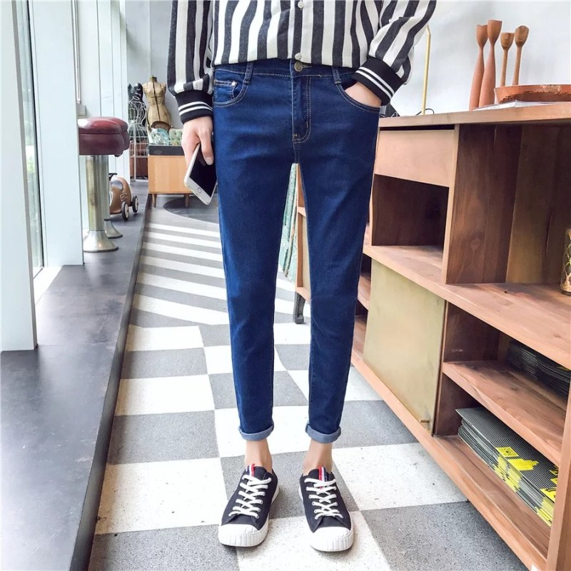 LEFT ROM 2018 spring fashion brand casual denim mens solid color business high-grade blue stretch classic jeans Size 27 to 34.