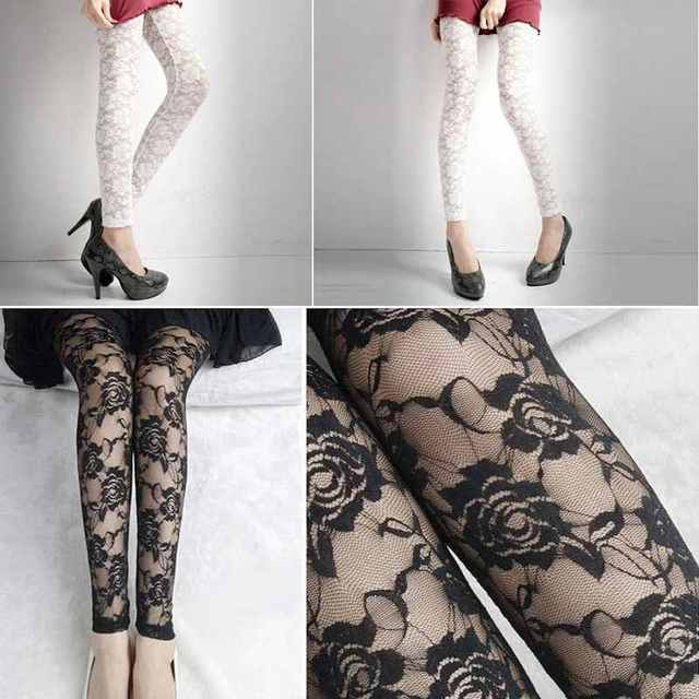 Sexy Women Lady Rose Lace Through Leggings Pants Footless