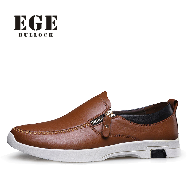 Men Causal Shoes EGE Brand Zip Genuine Cow Leather Shoe Sewing Male Flats Top Quality Big Size New Arrival Leisure Shoes for Men top brand high quality genuine leather casual men shoes cow suede comfortable loafers soft breathable shoes men flats warm