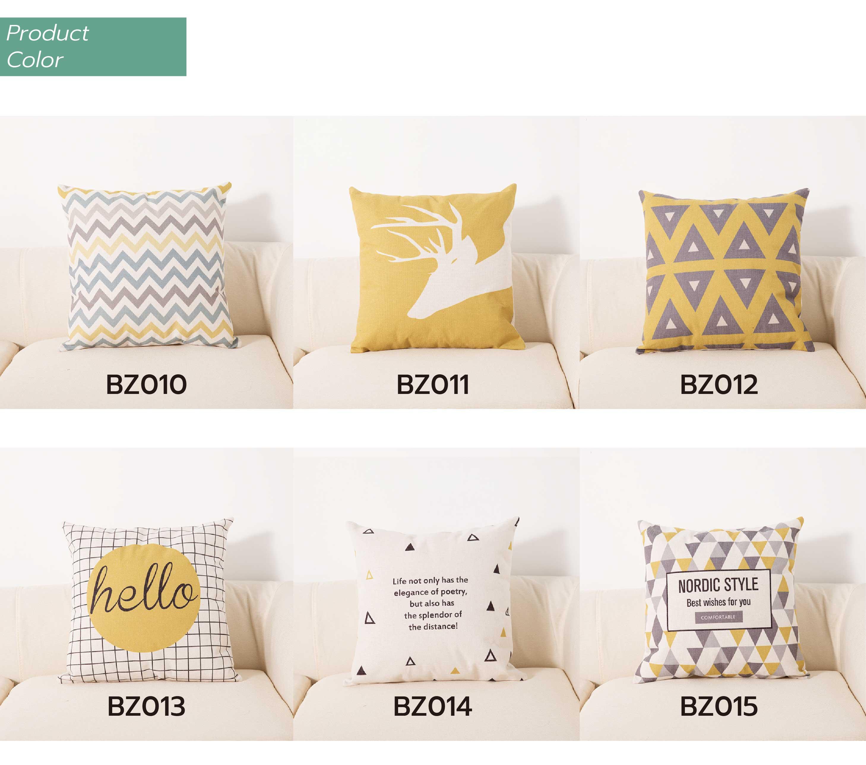HTB1H9s8aeH2gK0jSZFEq6AqMpXaj Cushion 45*45Two side printed Soft Cotton linen blend Cartoon stripes tropical plants European style Pastoral