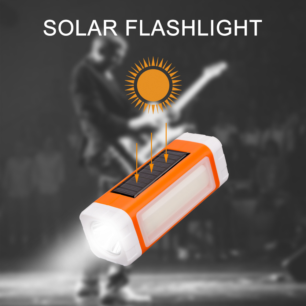 LED USB Solar Powered Flashlight Portable Audio Torch Support Music Player Outdoor Camping Lantern JDH99 outdoor camping emergency light solar powered led flashlight self defense glare flashlight hammer torch light with power bank