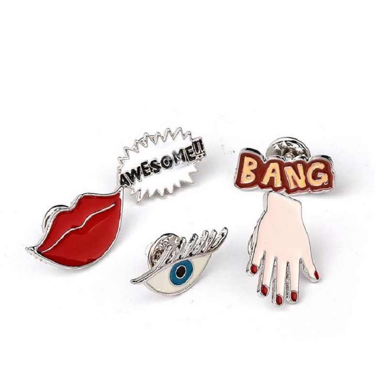 Seksi Merah Bibir Mata Palm Enamel Logam Bros Fashion Kepribadian Bang Mengagumkan!! Pin Lencana Pakaian Trendi Topi Perhiasan Aksesoris