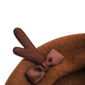 Image 4 - Girl Spring Winter Berets Hat Cute Deer Horn Wool Berets Women Bowknot Painter style hat Female Bonnet Warm Walking Cap antlers