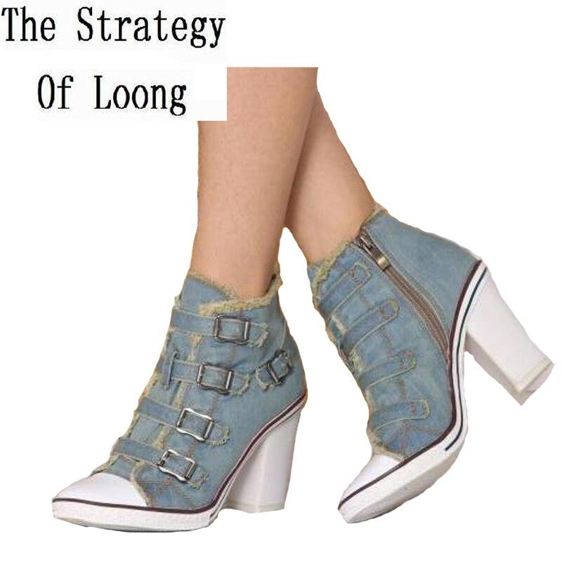 2018 New Arrival Korean Style Spring Autumn Women Thick High Heel Buckle Side Zipper Fashion Denim Shoes Size 34-41 SXQ0710