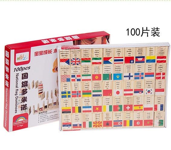 Domino Gebäude & Konstruktionsspielzeug 100 Stücke Holz Land Flagge Domino Blöcke Für Kinder Pädagogisches Spielzeug/kinder Baby Früh Lernen Nationalen Flagge Holz Donimo Block Perfekte Verarbeitung