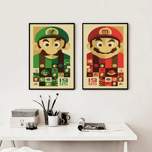 Vintage Game Cute Cartoon Super Mario Wall Art Canvas Poster and ...