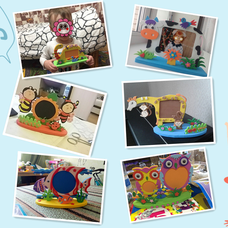 Puzzles & Games Puzzles Strong-Willed Kids Diy Eva Photo Frame Foam Craft Kits Educational Toys For Children Bee Owl Giraffe Fish Style