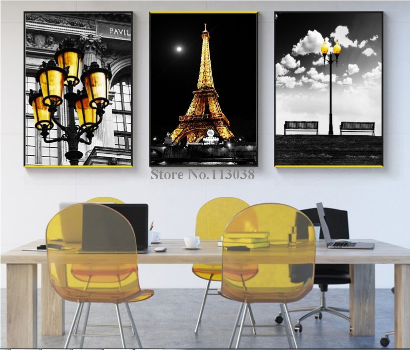 3 Pieces Modern city series black and white art Golden <font><b>Paris</b></font> Tower lighting Printed Canvas Living Room Wall Art Pictures image