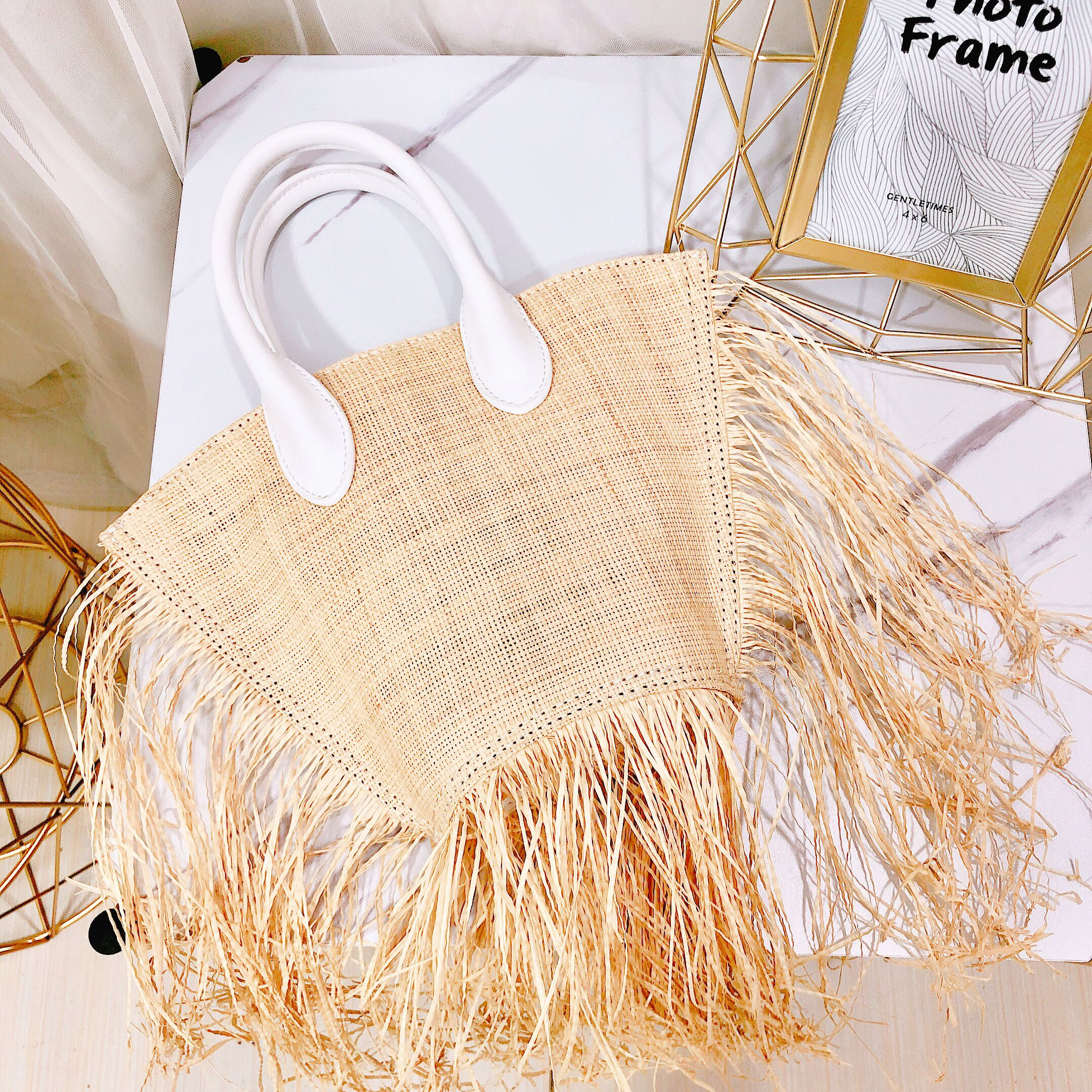 2019 Fashion New tassel Handbag High quality Straw bag Women beach woven bag Tote fringed beach woven Shoulder Travel bag-in Shoulder Bags from Luggage & Bags    3