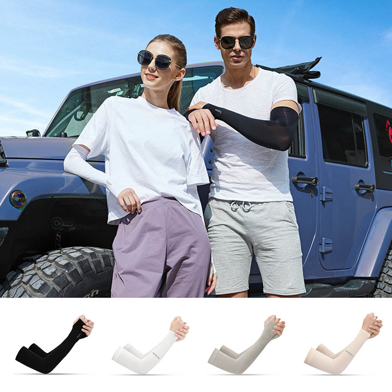 1 Pair Summer Sunscreen Cuff Unisex Cool Ice Silk Arm Sleeves UV Protection Cycling Running Fishing Clambing Driving Arm Cover