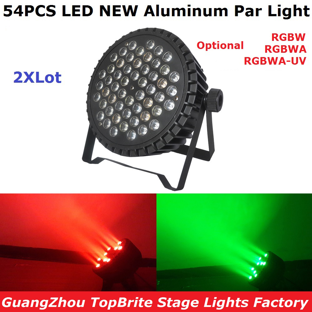 цены 2Pcs/Lot Free Shipping Aluminum Case 54X3W Led Par Light RGBW Single Color 180W LED Par Cans For Professional Dj Stage Lighting