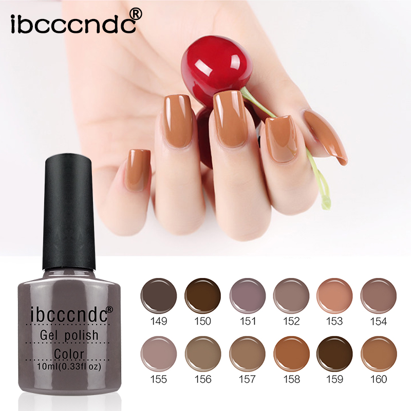12pcs Brown Series Colors Nail Gel Polish Soak Off Long-Lasting UV Led Vernis Semi Permanent Nail Gel Lak Varnish Nail Art Set