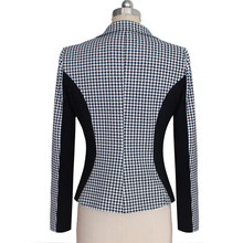 2016 New Arrival Women Long Sleeve Notched Style Blazer Suits Office Casual  Plaid Color Clothing Female Blazer Single Breasted