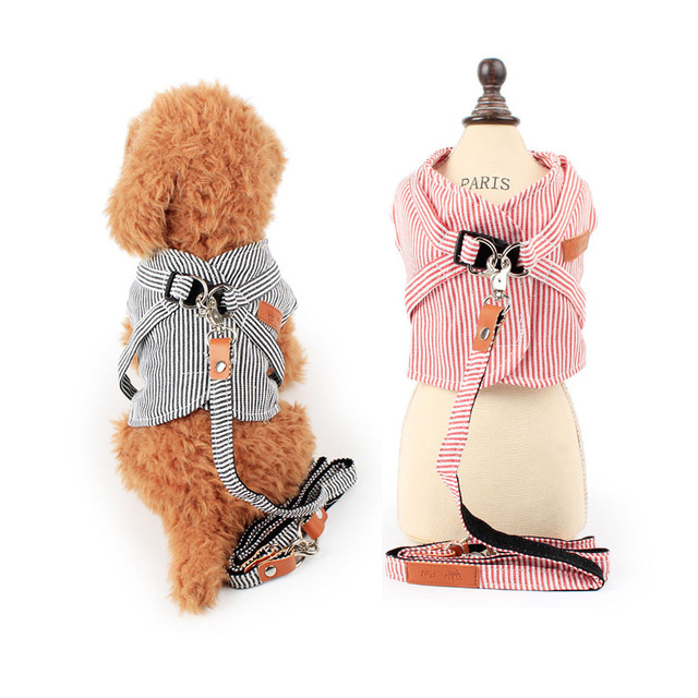 US $11.1 |Cute strip small Pet Cat dog Harness vest and Leash dog puppy  walk chest Collar Leads denim small dog Chihuahua jacket clothes-in  Harnesses ...