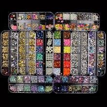 Новинка, разноцветные Стразы для ногтей, 3D, Кристальные, AB, прозрачные камни для ногтей, самоцветы, жемчуг, сделай сам, украшения для ногтей, золотые, серебряные, заклепки, стразы