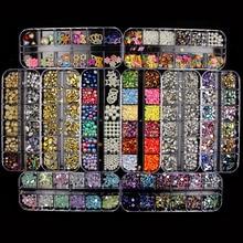 Nuevos diamantes de imitación para uñas de varios tamaños, cristales 3D AB transparentes, gemas piedras para uñas, perlas DIY, decoración para uñas, remaches de oro y plata, diamantes de imitación