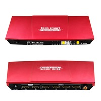 Tesla smart Aluminum High Quality UHD 4K 2 In 4 Out HDMI Switch Splitter 2x4 with SPDIF Output IR, Red