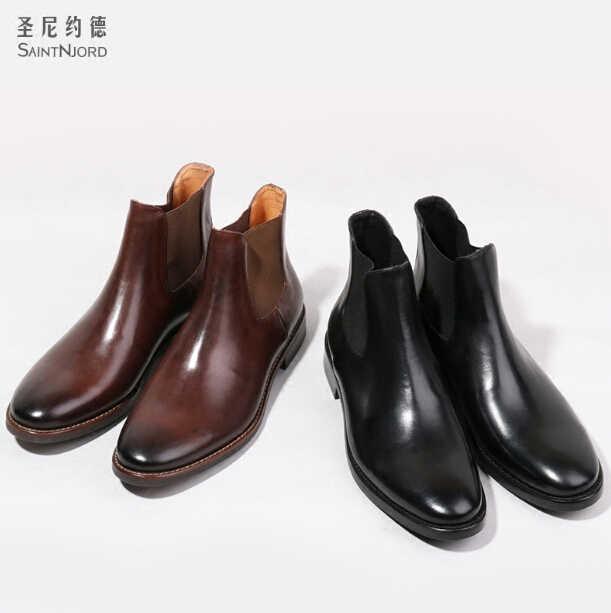 d0e6c4e6c38 Autumn winter Italian men's genuine leather ankle booties British men's  Chelsea short boots Brown/black slip on boot shoes men