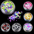 6 Bottles/set Plastic Nail Art Glitter Powder Color Mixed Nail Glitter Sequins Women Beauty Salon Manicure Tools WY598