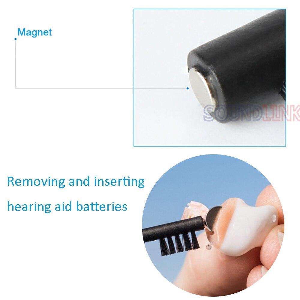Чистящая Щетка для слухового аппарата с восковой петлей и батареей, магнитный инструмент для чистки слуховых аппаратов, АБС и нейлоновый материал