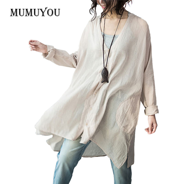 Women Cotton Linen Shirt Long Sleeve V-Neck Ladies Loose Casual V-Neck Blouse Apricot White Top Long Shirts Fashion 903-A211