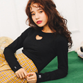 New Spring T-shirt Women Korean Chic Heart-shaped Hollow Out Long Sleeve Slim T Shirt Female Black/White Basic Cotton Tees