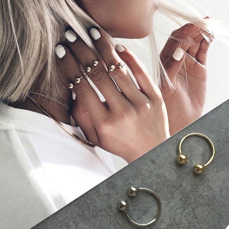 Réglable or et argent couleur géométrique Double boule anneaux pour les femmes ouvert Knuckle Joint perles anneau Bijou Bague Femme J004