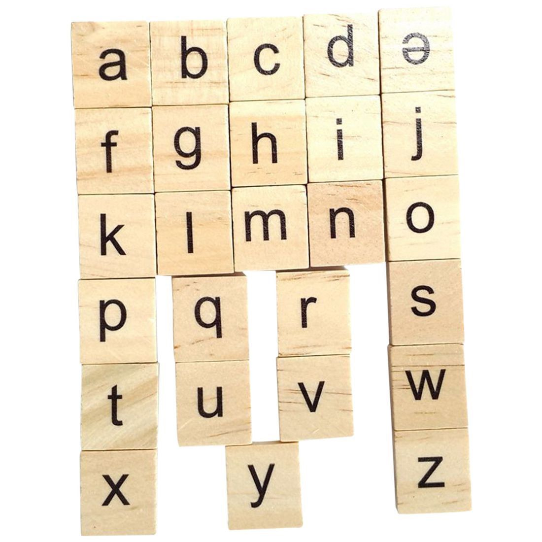 FBIL-200X Wooden Scrabble Tiles Letter Alphabet Scrabbles Number Crafts English Words LOWERCASE MIXED