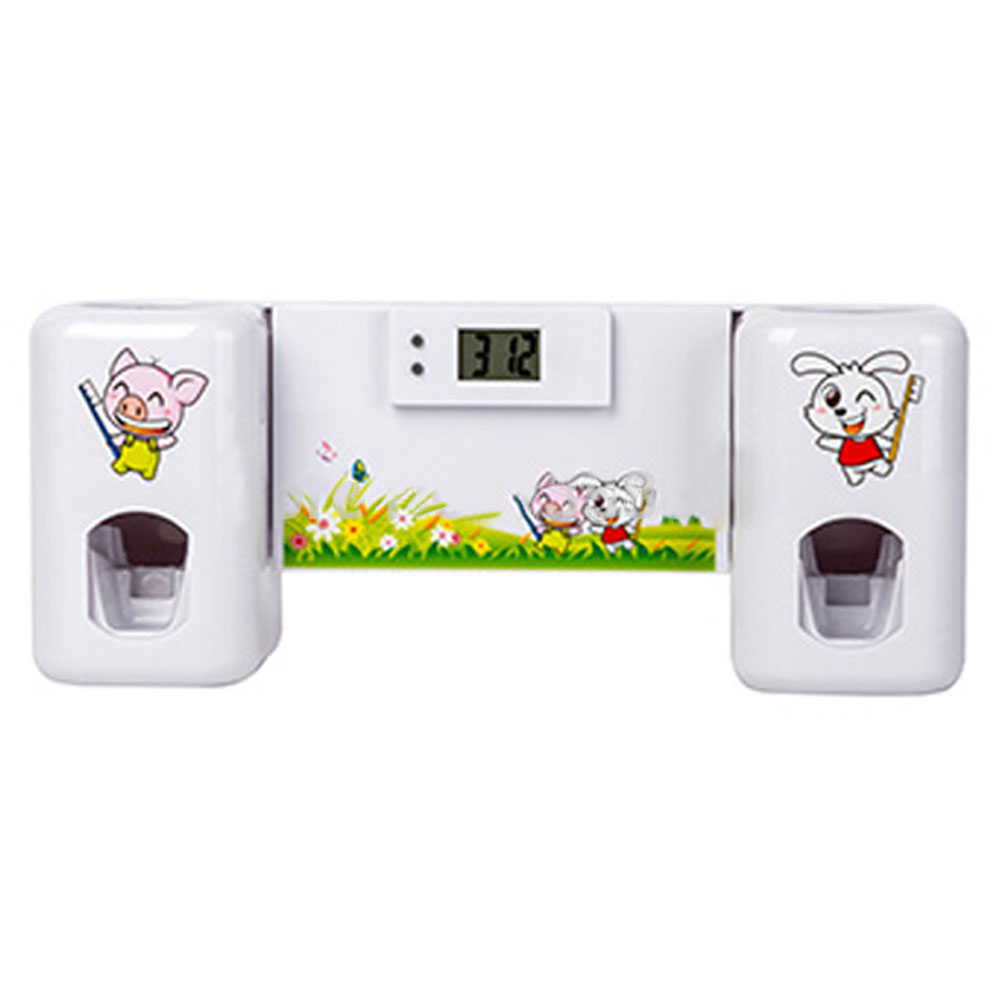 Аксессуары для ванной комнаты автоматический дозатор зубная паста + зубных щеток указан монтажа в стойку ванна оральный - белые животные