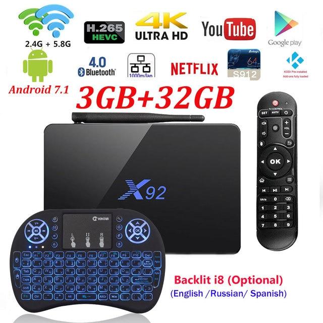 [Натуральная] X92 2 ГБ/3 ГБ 16 ГБ/32 ГБ Android 7,1 ТВ Box Amlogic S912 восьмиядерный KD плеер 16,1 загружен 5 г Wi-Fi 4 К Smart X92 телеприставке