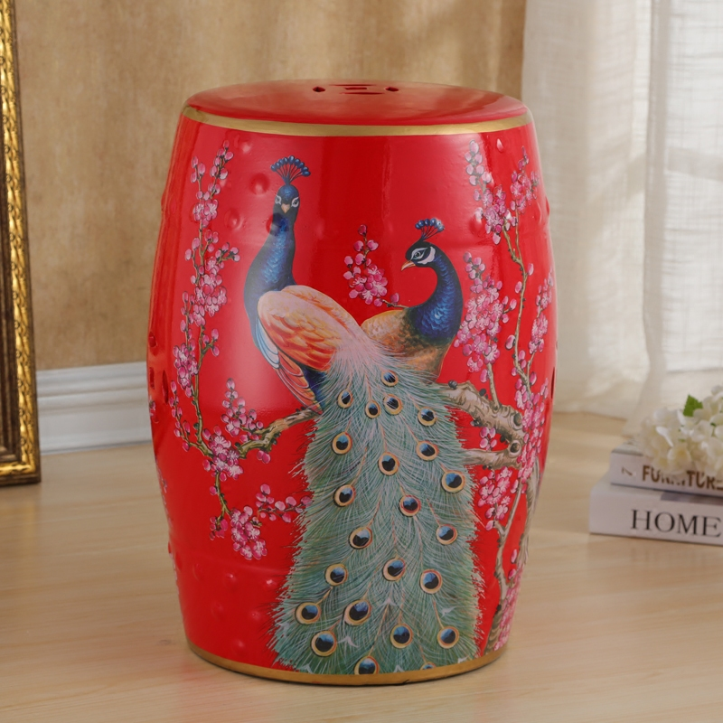 Peacock Glazed Chinese Red Antique Decorative Ceramic Garden Stool wildwood lamps 292499 antique finished ceramic hand made and glazed tang horse braying